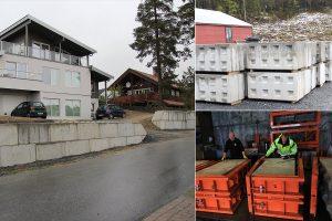 Kollage av betongklosser